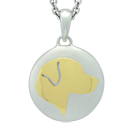 Yellow Gold Labrador Retriever Silhouette Cremation Ash Pendant