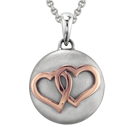 Rose Gold Entwined Hearts Cremation Ash Pendant