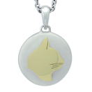 Yellow Gold Cat Silhouette Cremation Ash Pendant